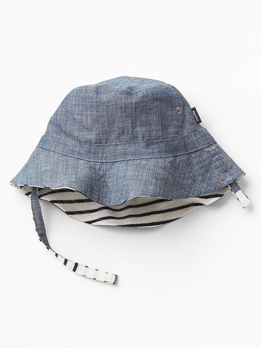Reversible chambray sun hat