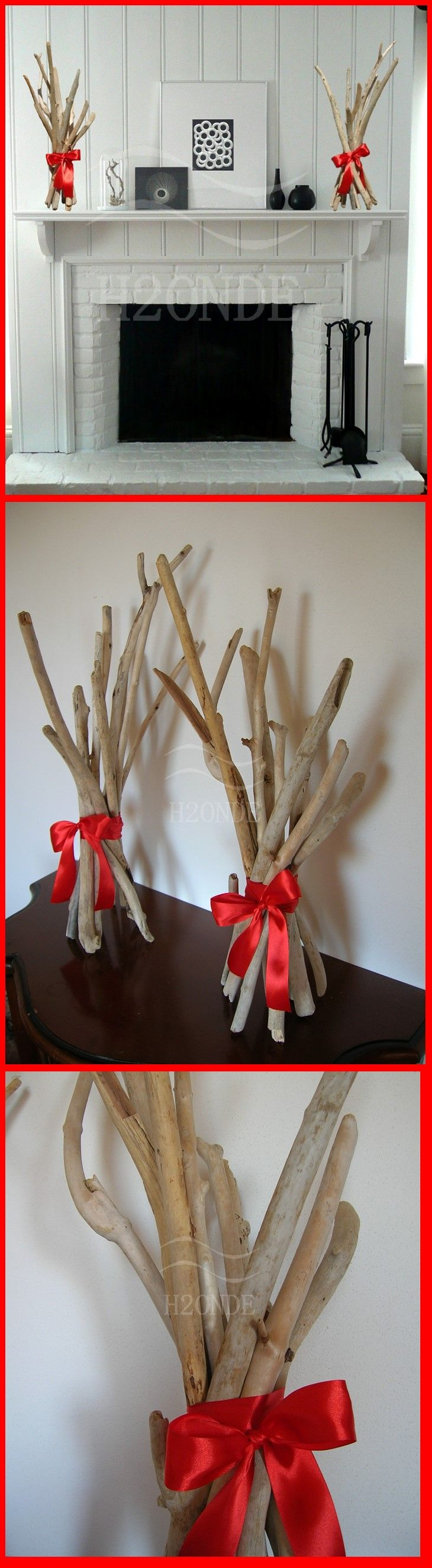 Set of 2 driftwood beach decor, coastal table centerpiece,mantel decoration,fireplace decor,floor decor,christmas ornament,xmas sculpture Home Décor  Ornaments & Accents  modern driftwood art  beach home decor  best cottage decor wedding centerpiece  driftwood decor  wood mantel decor  wedding decoration  table best gift mantel sculpture art  fireplace ornament  wood coffee table centrotavola legno  arredo camino h2onde matrimonio arredo casa fascio