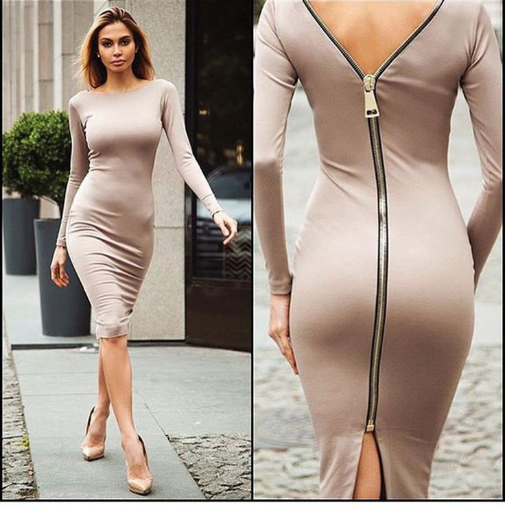 Bodycon Sheath Dress Little Black Long Sleeve Party Dresses Women Clothing Back Full Zipper Robe Sexy Femme Pencil Tight Dress-in Dresses from Women's Clothing & Accessories on Aliexpress.com | Alibaba Group