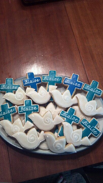 First Communion cookies - teal and blue crosses, doves