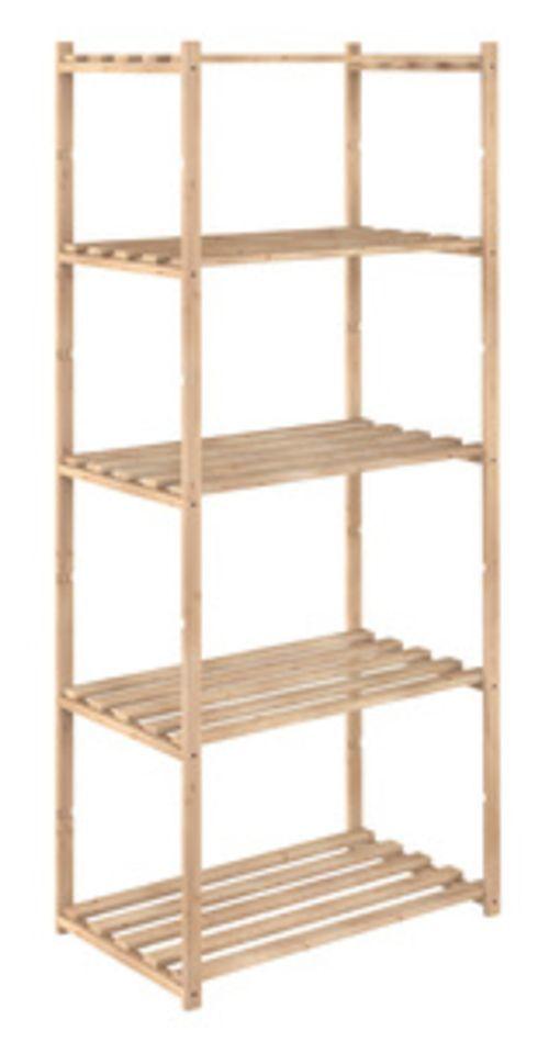 Mobile kit scaffale in legno di pino naturale 5 ripiani cm.65X40X171h