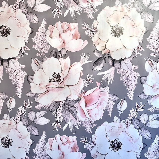 Floral Peony Removable Wallpaper Gray Watercolor Flower Self Etsy Peony Wallpaper Traditional Wallpaper Grey Colour Wallpaper
