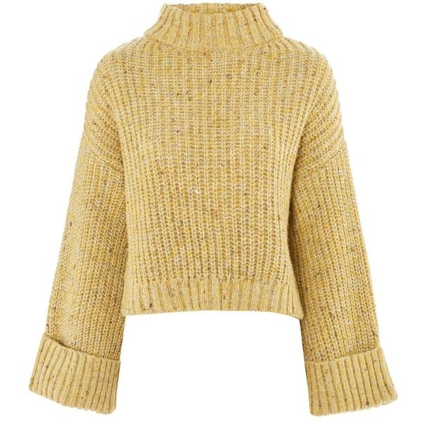 TopShop Neppy Turn Back Sweater (270 MYR) ❤ liked on Polyvore featuring tops, sweaters, jumpers, yellow, petite jumpers, topshop tops, beige top, petite knit tops and funnel sweater