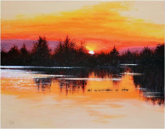 Original Acrylic Painting Sunset Landscape Lake Sunset Landscape Lake Painting Watercolor Sunset