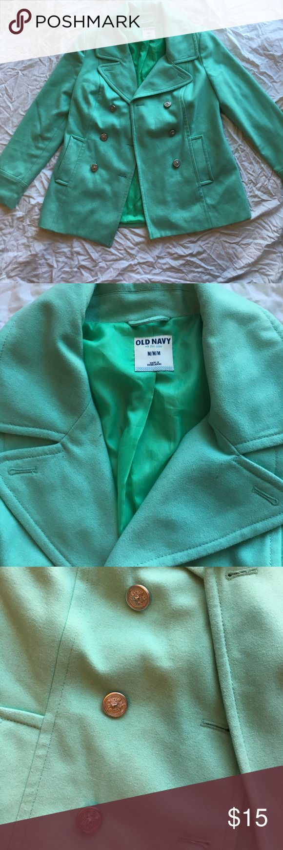 Mint green pea coat Like new- worn a small handful of times Old Navy Jackets & Coats
