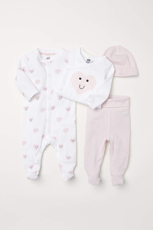 H M H M Four Piece Cotton Set Pink White Kids Baby Girl Pajamas Baby Girl Clothes Cute Baby Clothes