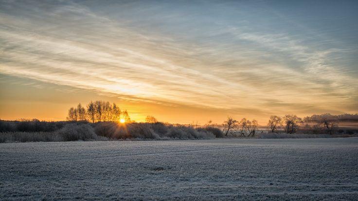 Frosty winter sunrise on Färingsö, Ekerö, Sweden