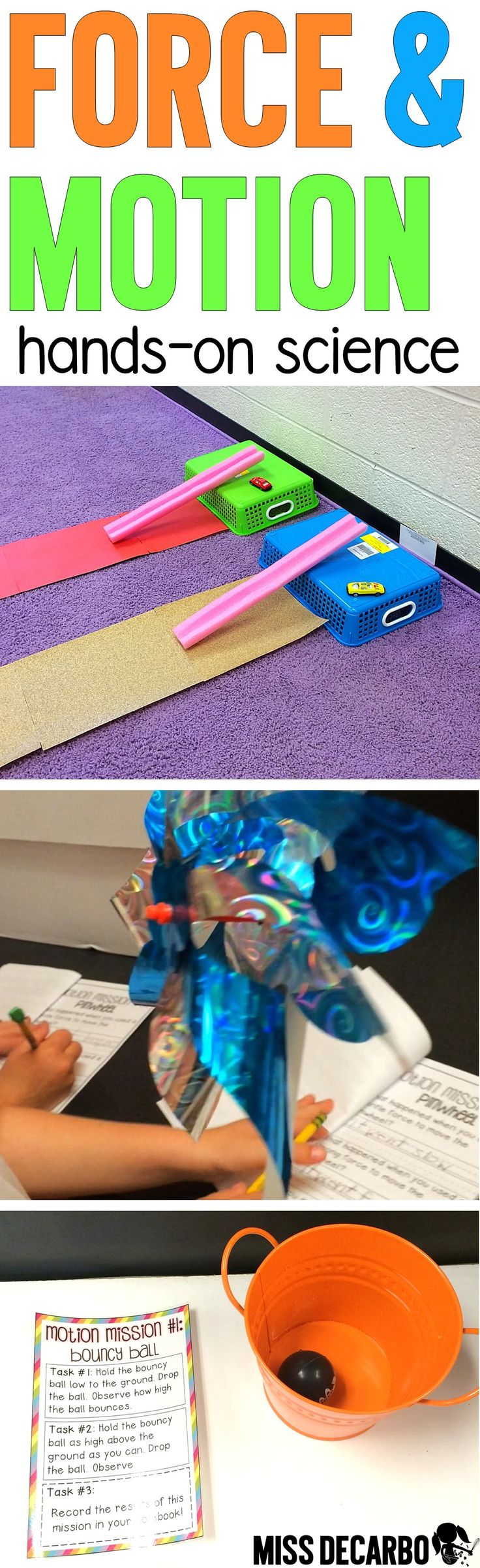 This FUN force and motion unit is JAM-PACKED with engaging science experiments, learning stations, games, printables, songs/poems, an assessment, 12 colorful learning posters, coordinating vocabulary cards, and so much more! Your students will learn how push, pull, friction, gravity, and speed make things move. Six motion mission activities create the ultimate science centers and STEM experience. Your students will even use the playground to learn how push and pull works in their everyday…