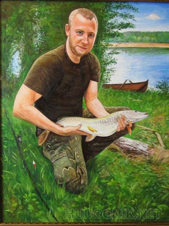 Портрет заядлого рыбака Портрет заядлого рыбака..каторый очень доволен своим уловом!) заказщики колеги и друзья , подарок на денрождение..