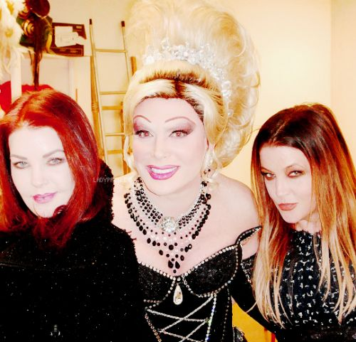 """ladypresley: """"Priscilla and Lisa Marie Presley backstage with Frank Marino at the """"Divas Las Vegas"""" show at Imperial Palace for Lisa's 43rd birthday in Las Vegas, NV, February 1, 2011. """""""