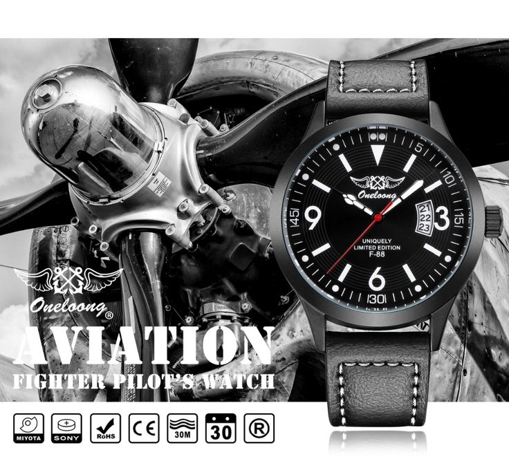 22.79$  Buy here - http://ali6wf.shopchina.info/1/go.php?t=32814495815 - F-88 Air Fighter Pilot Watch MIYOTA Japan Movement Men Watch ONELOONG Luxury Brand Fashion Leather Waterproof Military Watches   #bestbuy