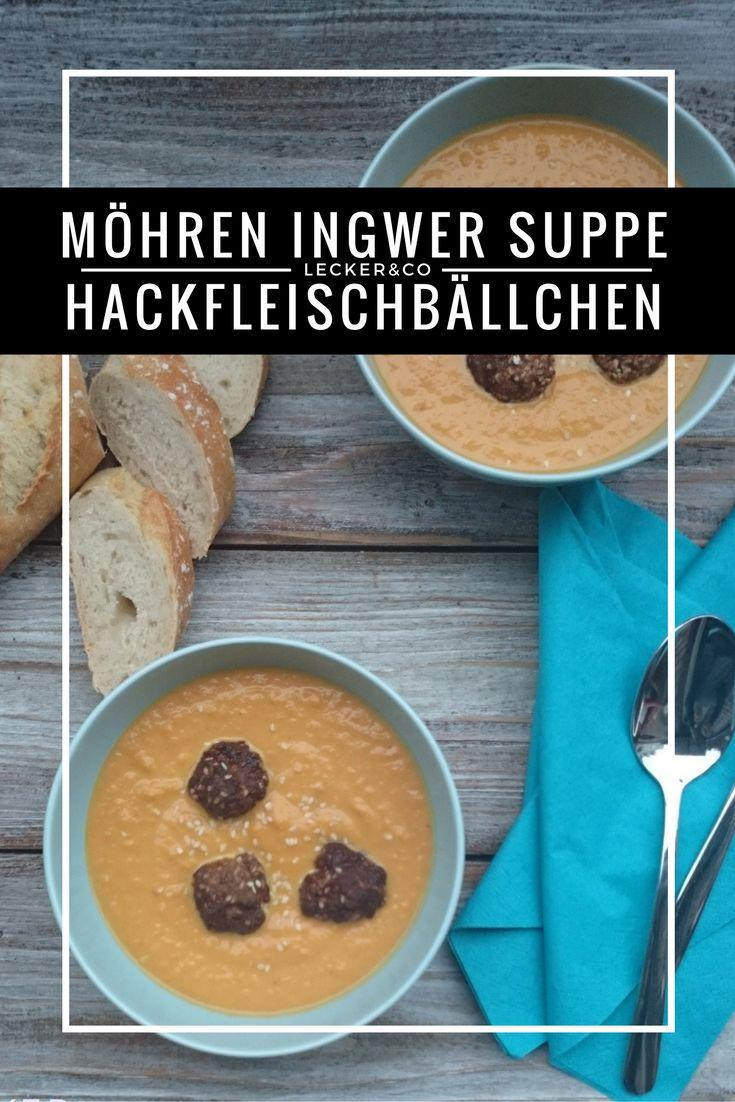 Scharfe Möhren-Ingwer Suppe mit würzigen Hackfleischbällchen