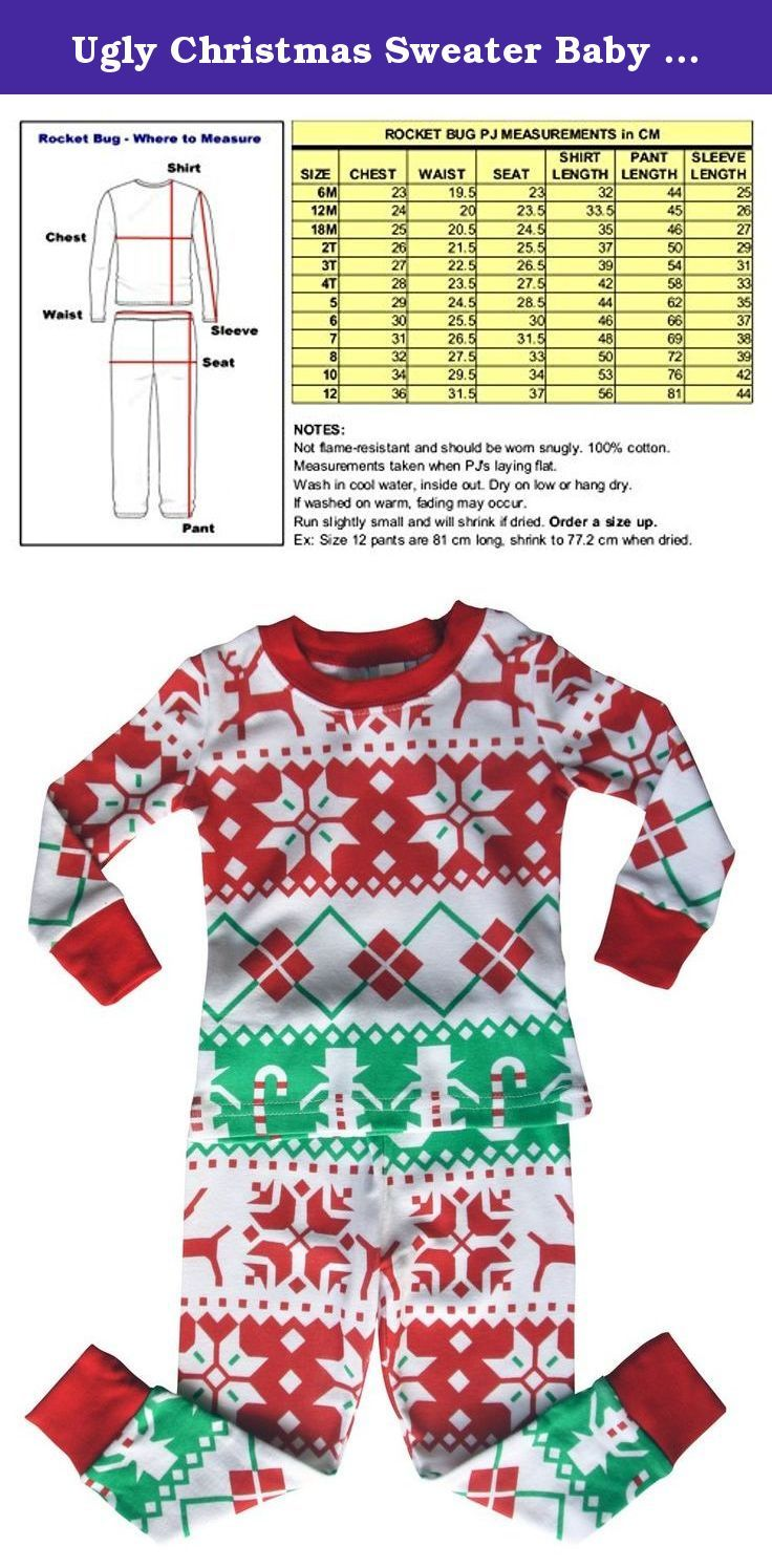 """Ugly Christmas Sweater Baby and Toddler Pajama Set (7). NOTE: These pajamas run a size small and will shrink if dried, so order a size up. They are not flame-resistant and, therefore, should fit snugly. CARE INSTRUCTIONS: Wash in cool water inside out and dry on low or hang dry. If washed in warm water, the pattern will fade. Our Holiday """"Ugly Christmas Sweater"""" Baby and Toddler Pajama Set will keep your fun loving little one snugly and cute this holiday season! It features a Christmas..."""
