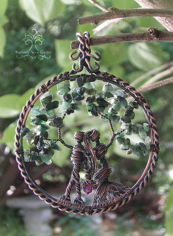 Wedding Anniversary Gift or February Baby Birthstone Family Tree of Life Wire Wrapped Pendant Jewelry OR Ornament Made With Emerald Stones