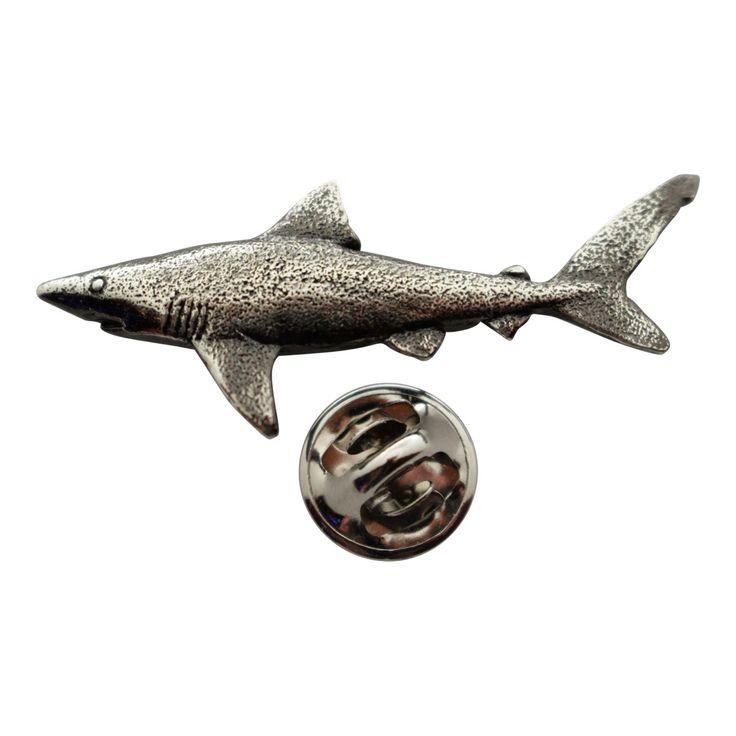 Dusky Shark Pin ~ Antiqued Pewter ~ Lapel Pin