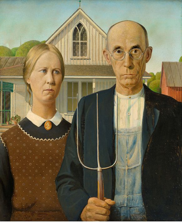 """ Grant Wood (1891-1942), American Gothic, 1930. oil on beaver board, 78 x 65.3…"