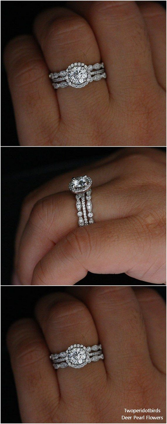 1.00cts Forever Classic Moissanite Round 6.5mm 14k White Gold Engagement Ring and Diamond Milgrain Wedding Ring Set #weddingideas #rings #weddings ❤️ http://www.deerpearlflowers.com/engagement-rings-from-twoperidotbirds/