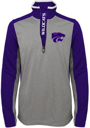 K-State Wildcats Boys Grey Matrix 1/4 Zip Pullover