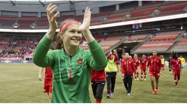 Olympic-medal-winning soccer player Erin McLeod, Canada's goalkeeper and a proudly out lesbian, says she hopes to be a role model for young #girls in #sport. #lgbt #lesbian
