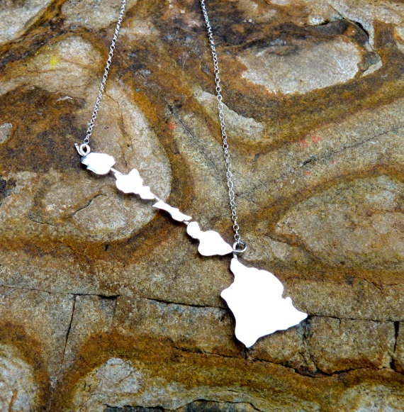 Hawaiian Islands Sterling Silver Necklace of Hawaii by SparrowSeas
