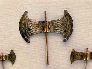 Labrys (Greek: λάβρυς, lábrys) is the term for a symmetrical double-bitted axe originally from Crete in Greece, one of the oldest symbols of Greek civilization.