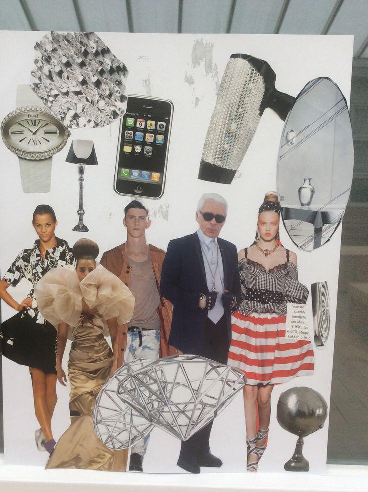 Hier zie je een collage. De opdracht was om een collage te maken van plaatjes die je vond in een tijdschrift en of kranten.