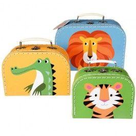 dotcomgiftshop kofferset kleurrijke dieren R-boxC26627 | ilovespeelgoed.nl