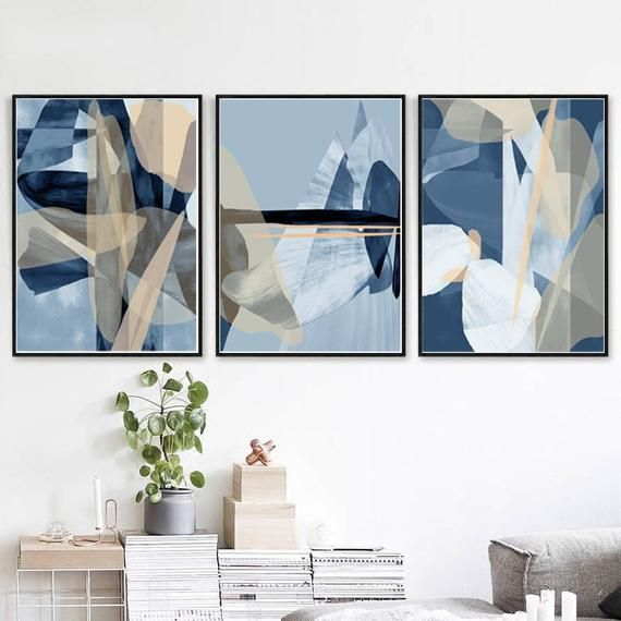 Blue Abstract Art Set Of 3 Prints Navy Poster Abstract Etsy In 2021 Blue Abstract Art Blue Wall Art Blue Abstract Painting