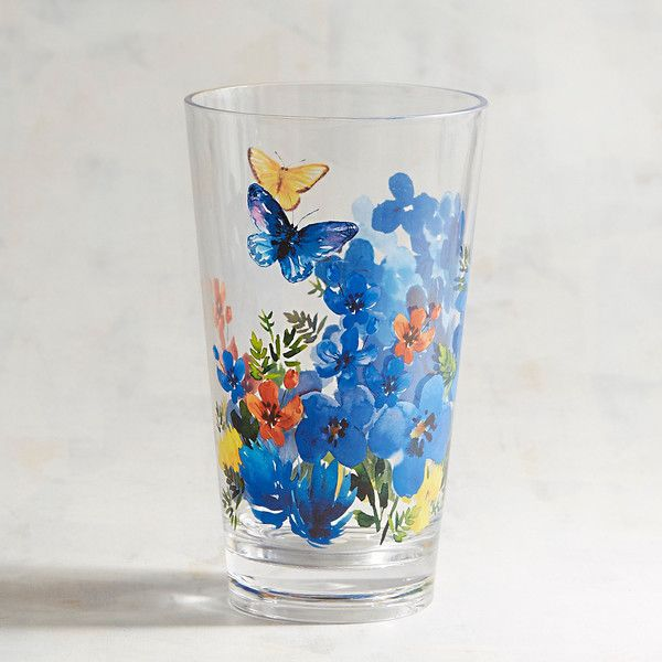 Pier 1 Imports Butterfly Floral Acrylic Tumbler ($6.95) ❤ liked on Polyvore featuring home, kitchen & dining, drinkware, pier 1 imports, outdoor drinkware, acrylic drinkware, acrylic tumblers and dishwasher safe tumblers