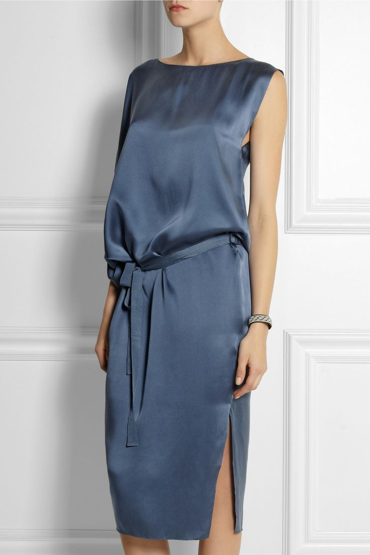 DAY Birger et Mikkelsen | Draped asymmetric silk-satin dress | NET-A-PORTER.COM