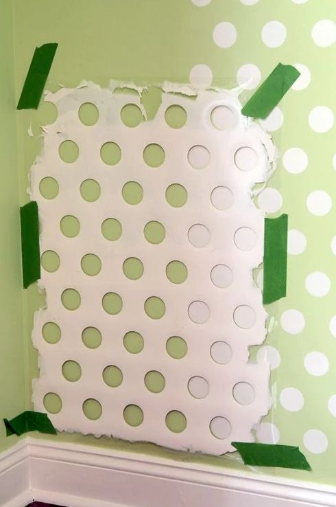 Create a polka-dot stencil by using an old laundry basket