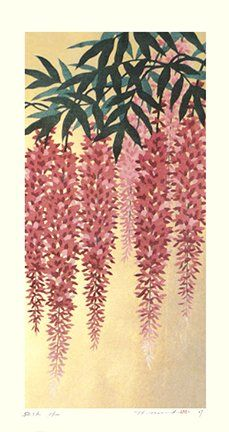Artist: Hajime Namiki. Keywords: flower floral modern contemporary style woodblock woodcut print picture hanga japan japanese orient oriental asia asian art readercollection.com wisteria