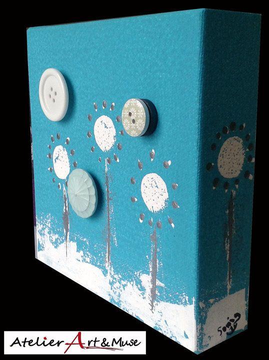 Toile aimantée, boutons aimantés,fleurs, turquoise , cadre, peinture abstraite, aimants, oeuvre unique, personnalisée, décoration de la boutique AtelierArtetmuse sur Etsy