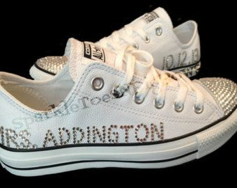 wedding bling converse shoes | ... Bride/Wedding Swarovski Crystal/Rhinestone Womens Converse Bling Shoes