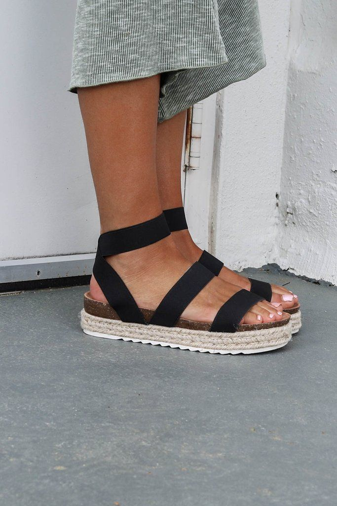 Black Espadrilles Have Strappy And Stretchy Detail Platform 1 Shoes Run A 1 2 Size B Platform Espadrille Sandals Black Espadrille Sandals Platform Espadrilles