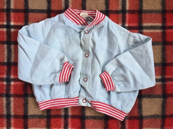 50s Faded Denim Bomber Jacket w/ Red Trim by electricbabyseattle
