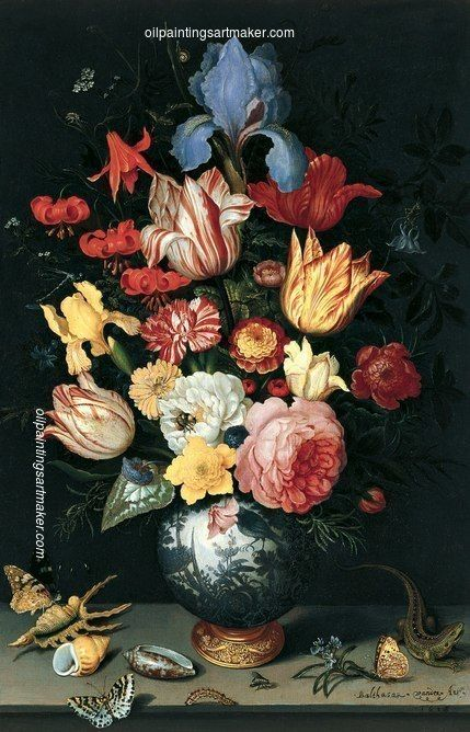 Balthasar van der Ast Chinese Vase with Flowers, Shells and Insects, painting…