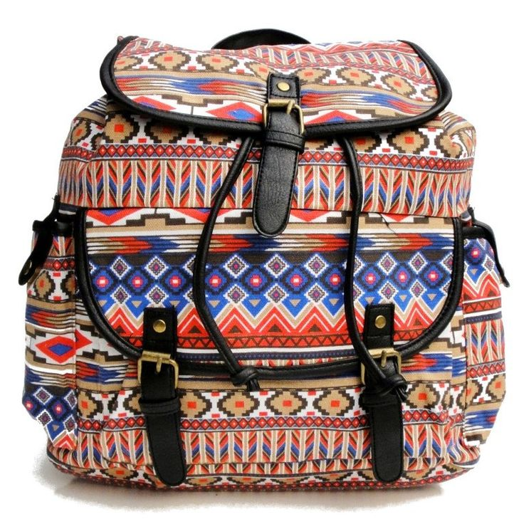 Beagles Vintage Canvas Colorfull Aztec Patterned Top Handle Backpack Rucksack Bag Purse Retro Large A4 School Work College by BagintheDays on Etsy