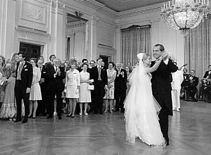 President Richard Nixon dances with his daughter, Tricia, during her June 1971 wedding reception at the White House.
