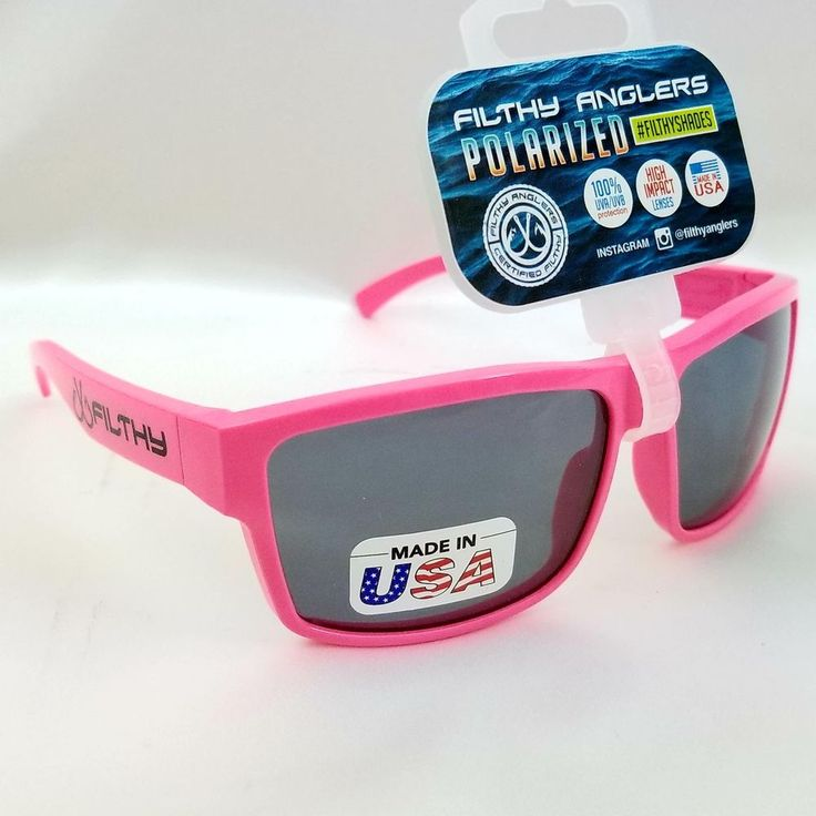Pink Neon Filthy Anglers Polarized Fishing Skiing Sunglasses Plastic Frame Ames #ClearLake #Sport