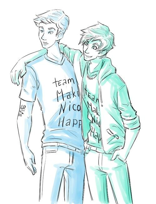 """Jason and Percy trying to cheer up Nico :) """"Team Make Nico Happy""""<< I love this so much bc I always picture Percy on the """"nick defense squad"""" after the war"""