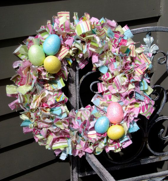 Easter Rag Wreath With Eggs by LuluAnns on Etsy. , via Etsy.
