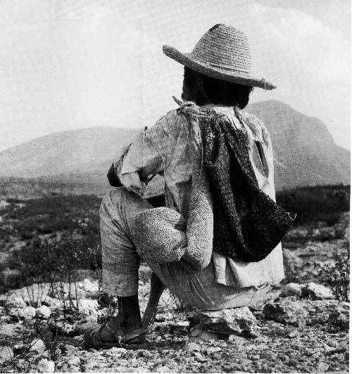 """Fotografía y texto de Juan Rulfo """"Es una espiral de historias que se van uniendo a partir de allí, para cerrarse en las montañas. La historia se va abriendo, abarca las poblaciones, y luego sube hacia lo que ya es zona montañosa""""."""