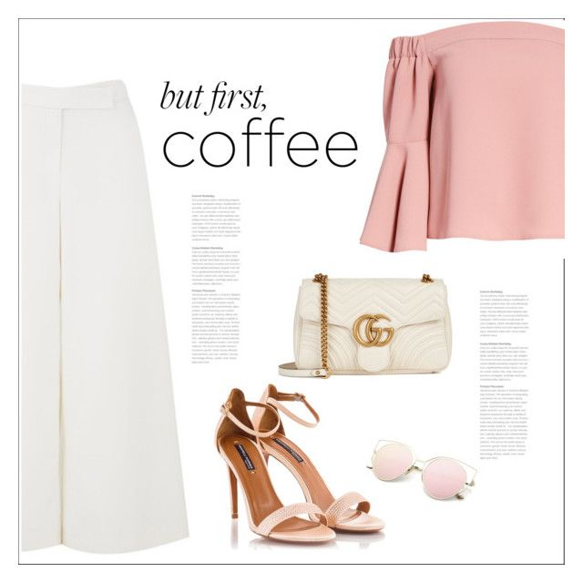 """Caffeine Fix: Coffee Break"" by bliznec ❤ liked on Polyvore featuring Amanda Wakeley, Topshop, Fratelli Karida, Gucci, polyvoreeditorial, polyvorecontest and coffeebreak"