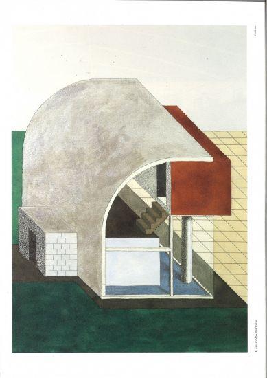 Architettura Attenuata. 24 disegni di Ettore Sottsass - Casa molto normale, acquarello, 61x46 cm