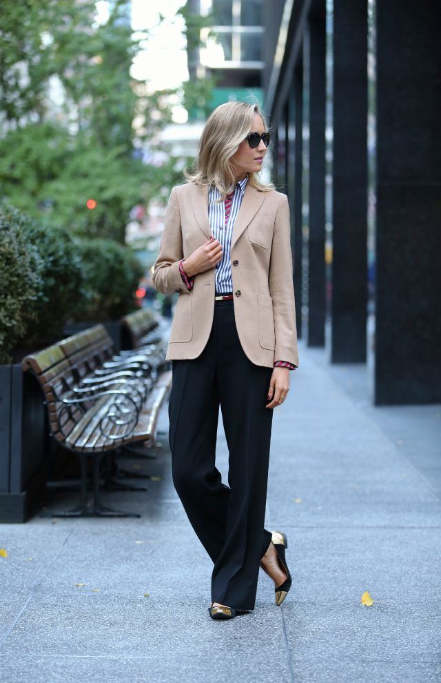 camel blazer and button down shirt with wide leg pants and cap toe ballet flats