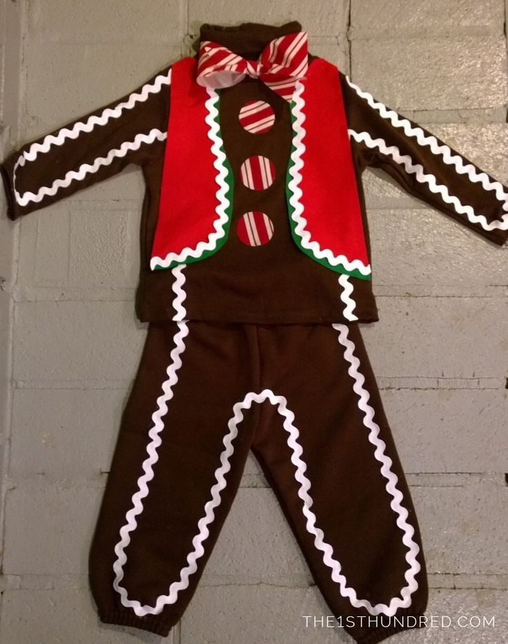 DIY cheap, no sew Gingerbread Man Costume from the 1sthundred.com