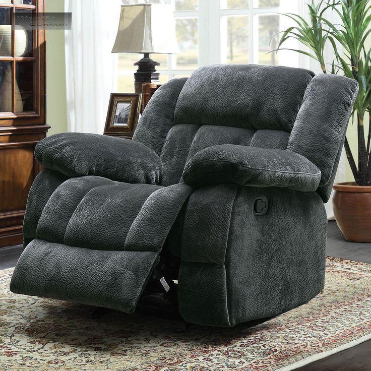 Grey Microfiber Oversized Glider Recliner Lazy Chair Reclining Rocking Gray Boy http://www.ebay.com/itm/-/182092202294?
