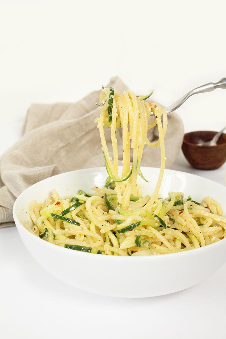 Garlic-Parmesan Zucchini Noodles and Spaghetti Pasta [Vegans sub nutritional yeast or vegan cheese]