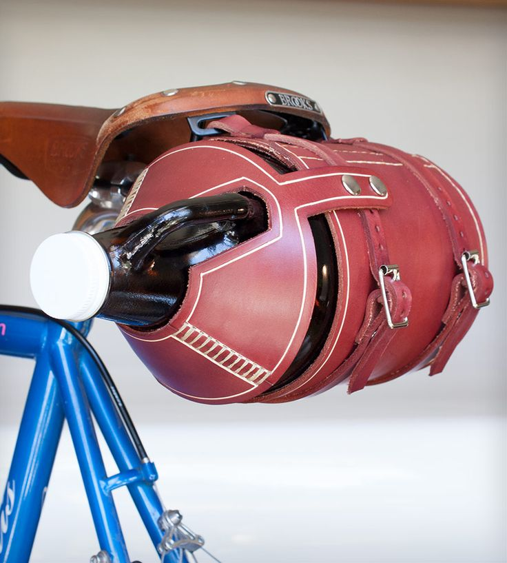 Leather Bike-Mounted Beer Growler Carrier | Gear & Gadgets Biking | Pedal Happy | Scoutmob Shoppe | Product Detail